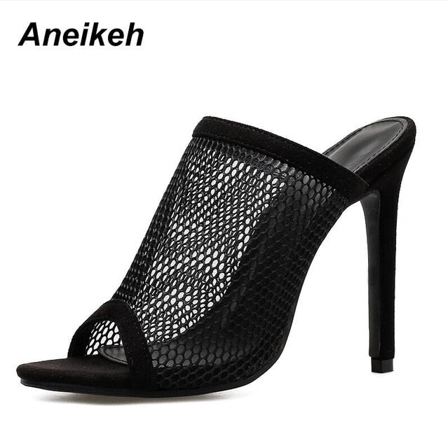 habazoo - Open Toe Sandals Women Mule Slides Mesh Hole Cut Out Hollow Stilettos High Heels Casual Clubwear Shoes black - Habazoo -