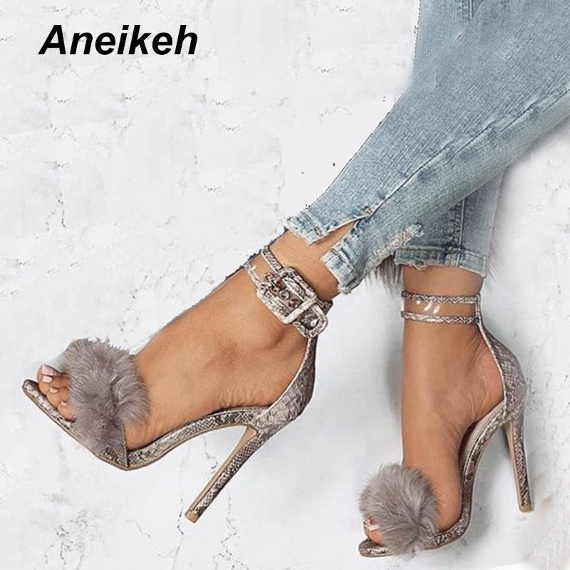 habazoo - Women Sandals High Heels Footwear Fur Ankle Strap Gladiator Sandals Female Wedding Sexy Shoes Stiletto D-88-5# - Habazoo -
