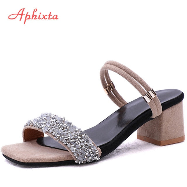 habazoo - Luxury Crystal Shoes Summer Open Toe Buckle Chunky Heels Rhinestone Slippers Silver Gold Large Size - Habazoo -