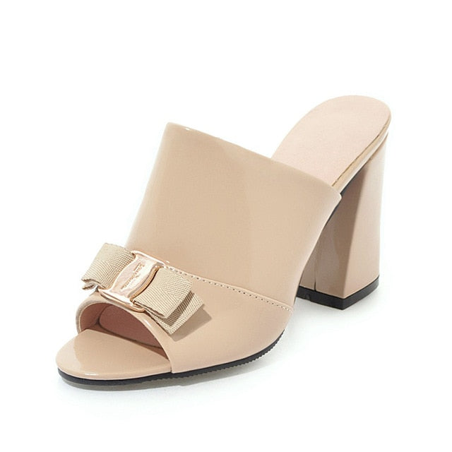 habazoo - Sexy Square High Heels Summer Mules Pumps Shoes Women Fashion Top Quality Lady Footwear - Habazoo -