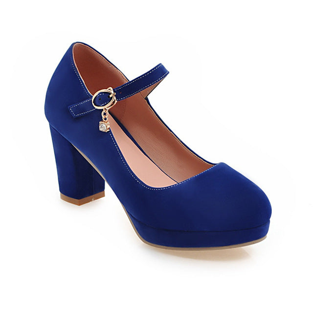 habazoo - Elegant Round Toe Mary Janes Pumps Shallow Platform Large Size 32-43 Shoes - Habazoo -