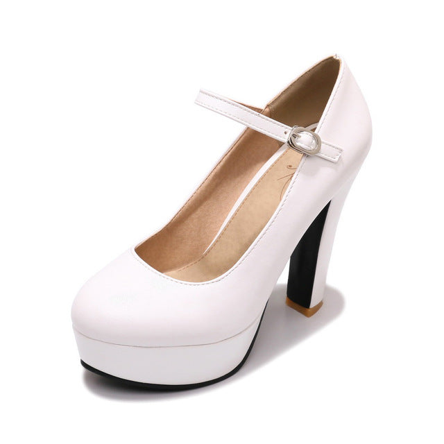 habazoo - Women Mary Janes Pumps Black High Heels  Shoes Woman Platform Sexy Women Shoes - Habazoo -