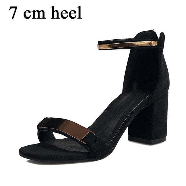 habazoo - New Brand Metal Decoration Sandals Women High Heels Concise Elegant Shoes Woman - Habazoo -
