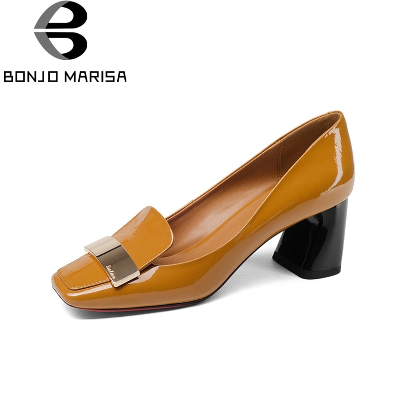 habazoo - Genuine Leather Square Toe Square High Heels slip-on Shoes Woman Fashion Spring Pumps - Habazoo -