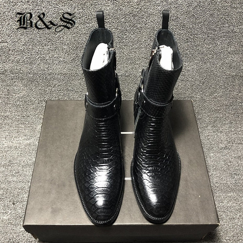 Black& Street cowhide Embossed Serpentine dress high leather Harness Boots high end handmade men west boots