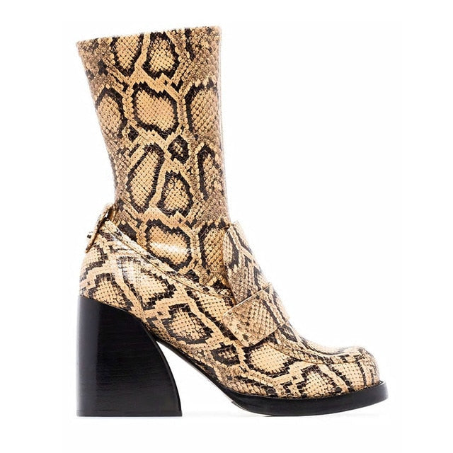 Buono Scarpe Animal Print Women's Boots Leather Woman Boots Leather Botas Fenimina Snake Print Botas Mujer Chunky Boots Women