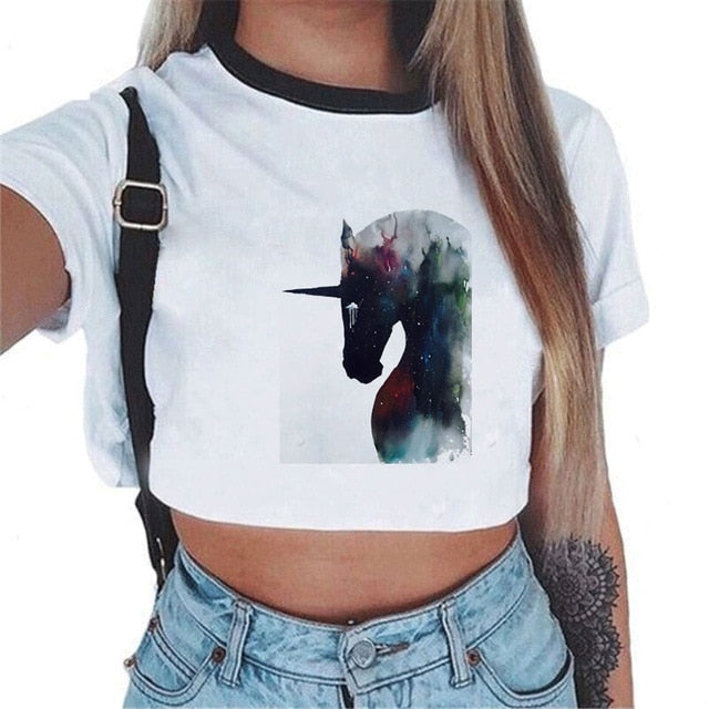 habazoo - Women Tees Sexy Crop Top Shirt Fashion Unicorn Theme White T-shirt Short Sleeve Round Neck Top Shirt S M L Size - Habazoo -