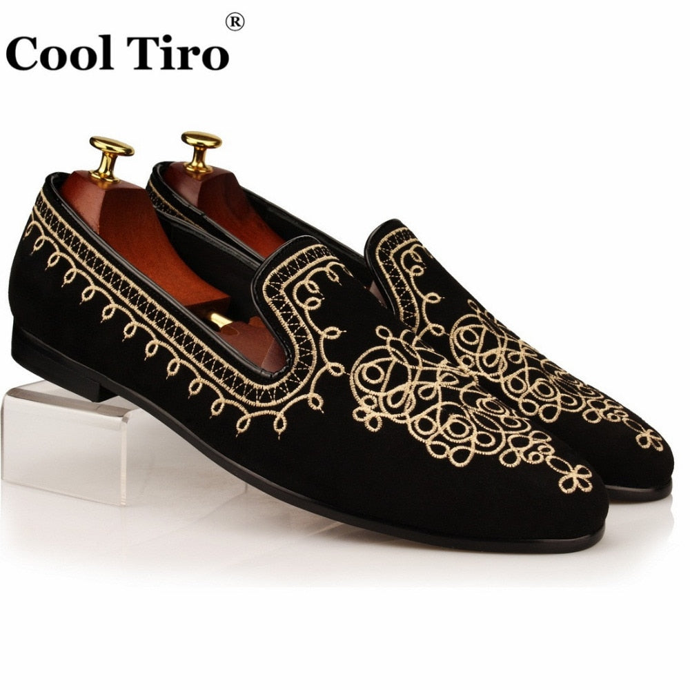 Cool Tiro Men Loafers Gold Embroidery Slide Slippers Party Banquet Bla