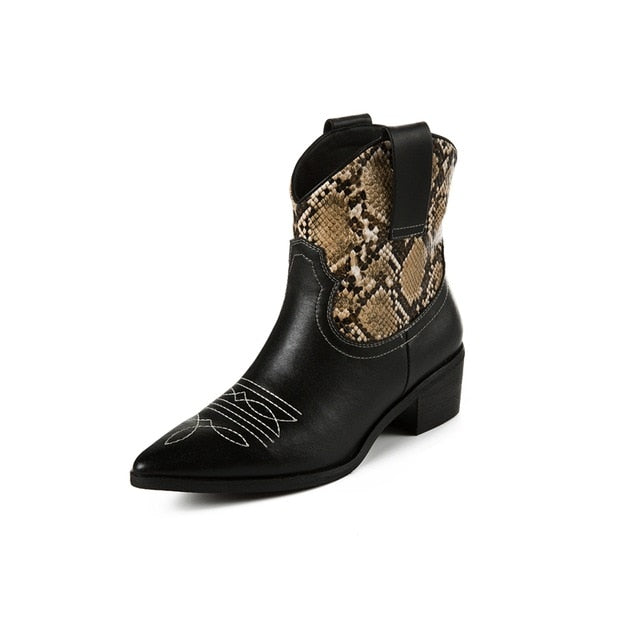 Classic Embroidered Leather Cowboy Ankle Boots for Women