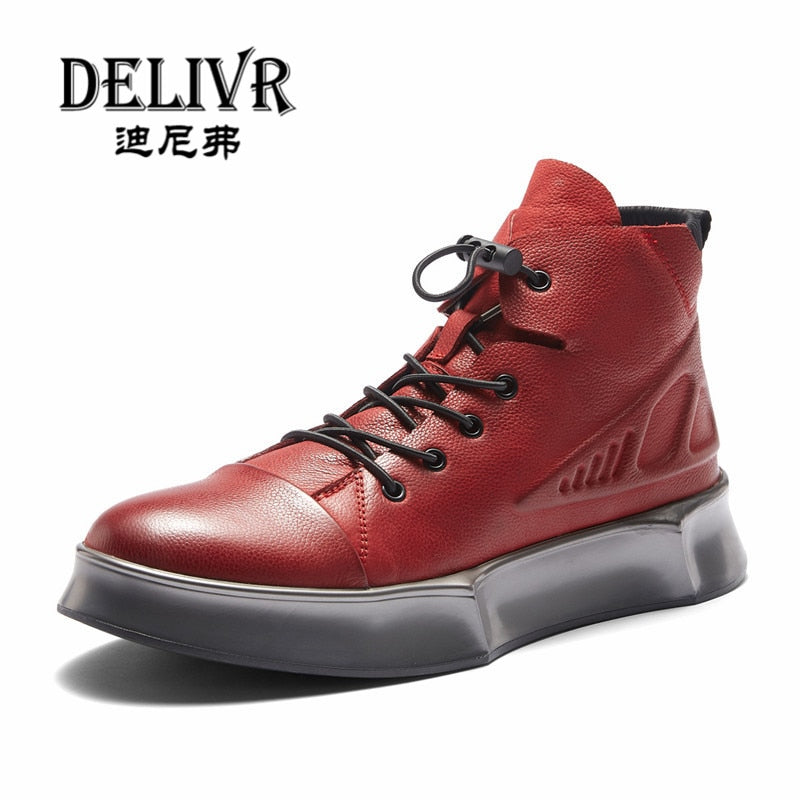 Deliv Genuine Leather Boot Men Shoes Luxury Brand