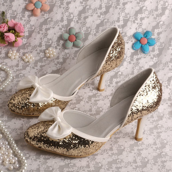 habazoo - Gold Glitter Evening Party Pumps Open Toe Shoes for Weddings Size 8 - Habazoo -