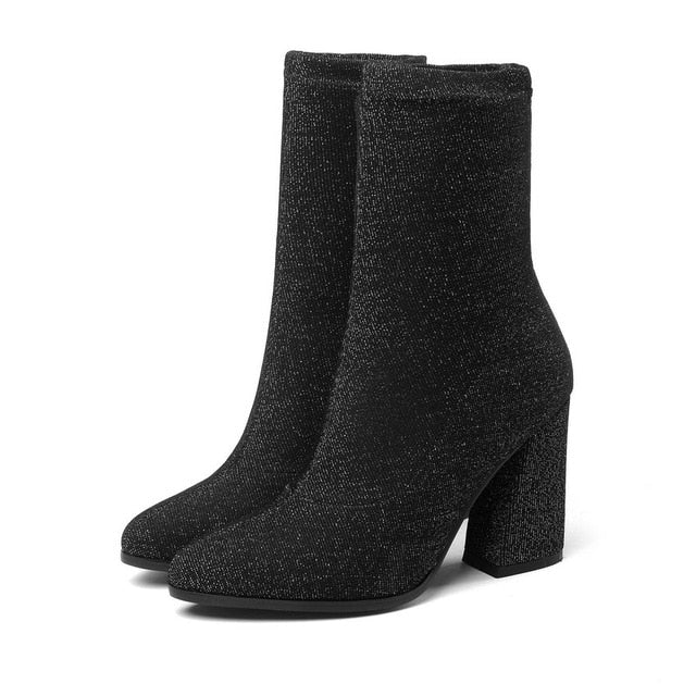 habazoo - Women Boots Stretch Fabrics Mid Calf Boots Spring Autumn Shoes High Heels Pointed Toe Ladies Sock Boots Size 34-43 - Habazoo -