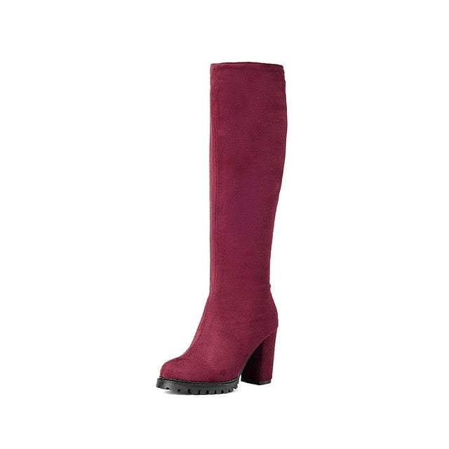 Knee High Boots Winter Women Shoe Elegant Boots Scrub Square High Heel Zipper Fashion Ladies Long Boots