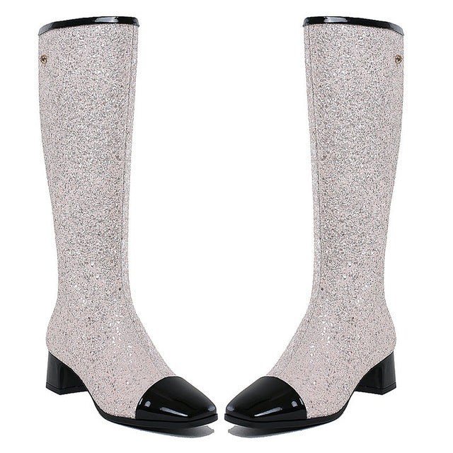 Prova Perfetto 2018 Super Bling Bling Women Boots Fashion Paillette Knee High Boots Genuine Leather Low Heel Boots Ladies Shoes