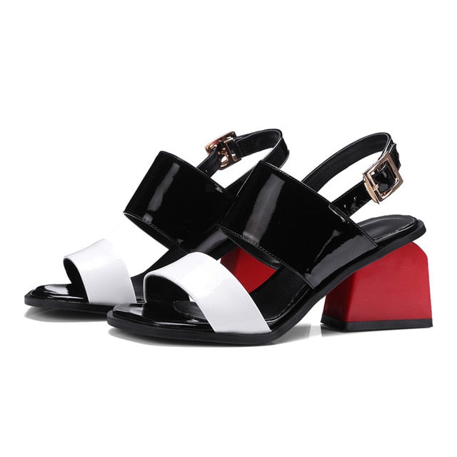 habazoo - Elegant Sandals Womens Cut Out Genuine Leather Chunky Square Heel Gladiator Rome Ankle Strap Sandals Shoes Woman - Habazoo -