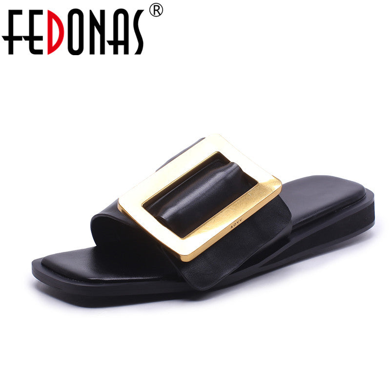 habazoo - Women Sandals High Heels  New Genuine Leather Summer Fashion Buckle Female Gladiator Sandals Comfortable Shoes Woman - Habazoo -