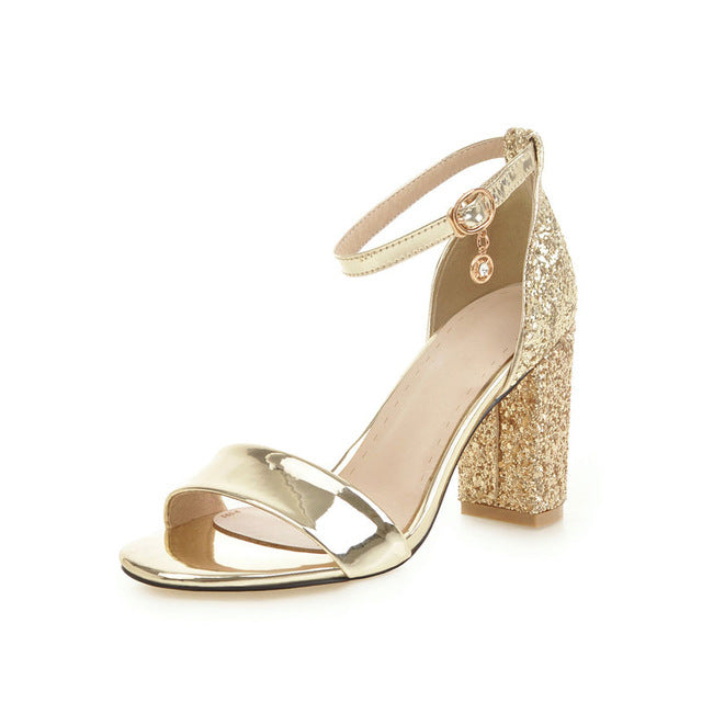 e8a7c622d95 ... Fashion Ankle Strap Buckle Strap Sandals summer Bling open toe Cover high  heels women s shoes Elegant ...