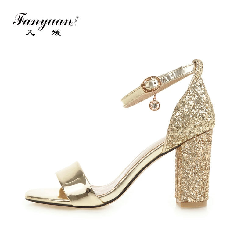 habazoo - Fashion Ankle Strap Buckle Strap Sandals summer Bling open toe Cover high heels women's shoes Elegant gold Party shoes - Habazoo -