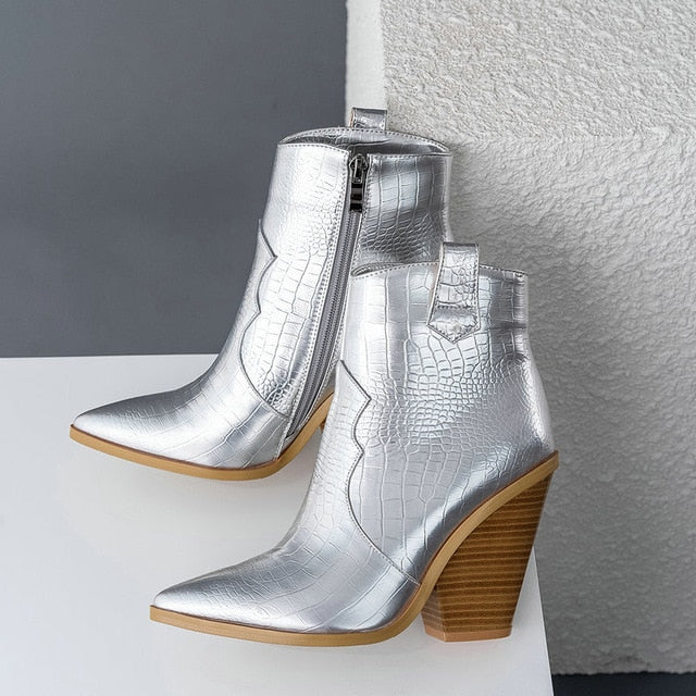 Fashion Ankle Boots Women Faux Leather Wedges High Heels Western Boots Pointed Toe Zipper Autumn Winter Short Boots Woman Shoes