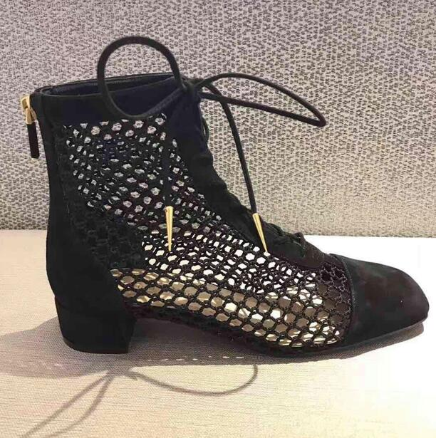 habazoo - Fashion Womens Ankle Boots Mesh Shoes Sexy High Heels Lady Platform Pumps Lace Up Shoe Female aa1005 - Habazoo -