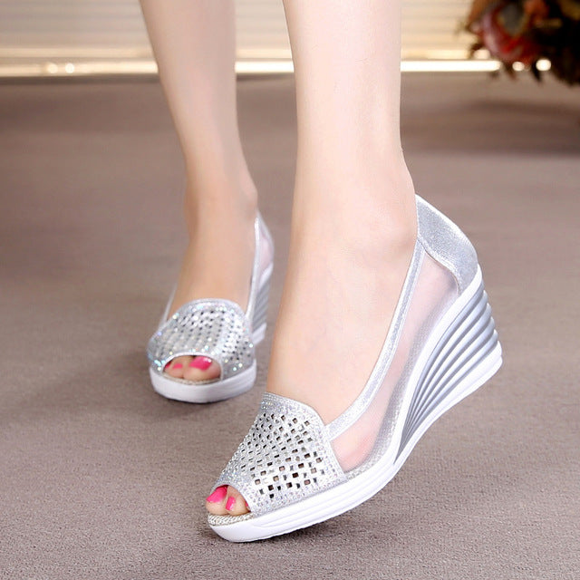 habazoo - Fish mouth wedge sandals  summer new women's shoes rhinestones OL hollow net shoes - Habazoo -