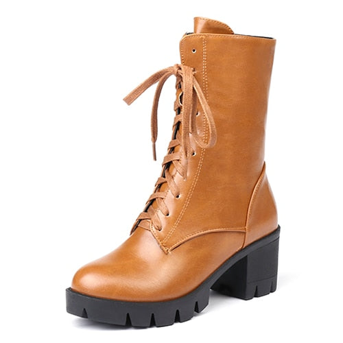 habazoo - Women Ankle Boots High Heels Female Motorcycle Boots Lacing Round Toe Rubber Sole Platform Heel Ladies Party Boots - Habazoo -