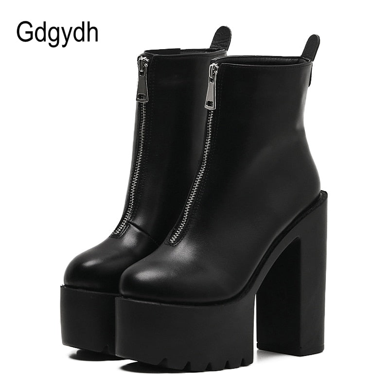 Women Ankle Boots Leather Black Female High Heels Shoes Ultra High Platform Heels Round Toe Lady Shoe