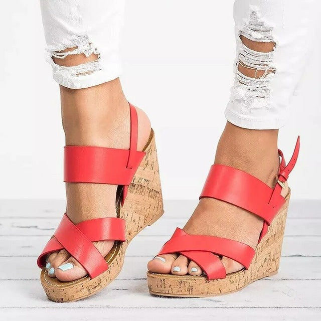 habazoo - Gladiator Sandals Platform Women Wedges Shoes Female Summer Ankle Strap Trifle Open Toe High Black Flip Flops Slipper Size 35-43 - Habazoo -