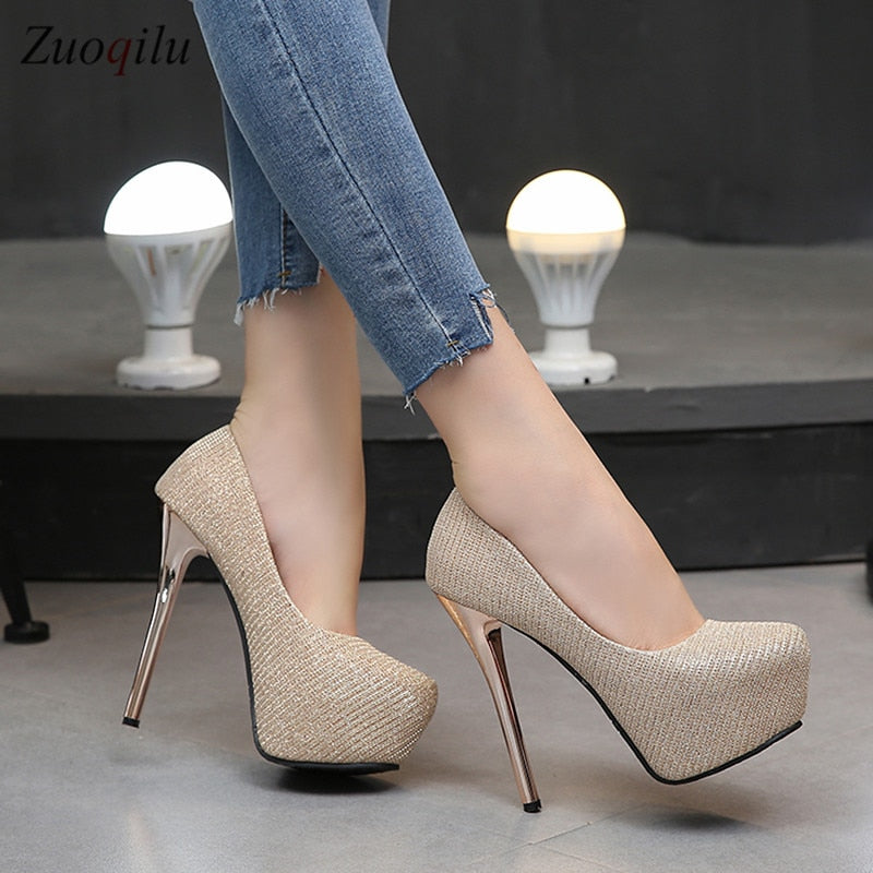 habazoo - Gold High Heels platform heels shoes woman pumps women shoes high heels party wedding shoes tacones mujer tacones plataforma - Habazoo -