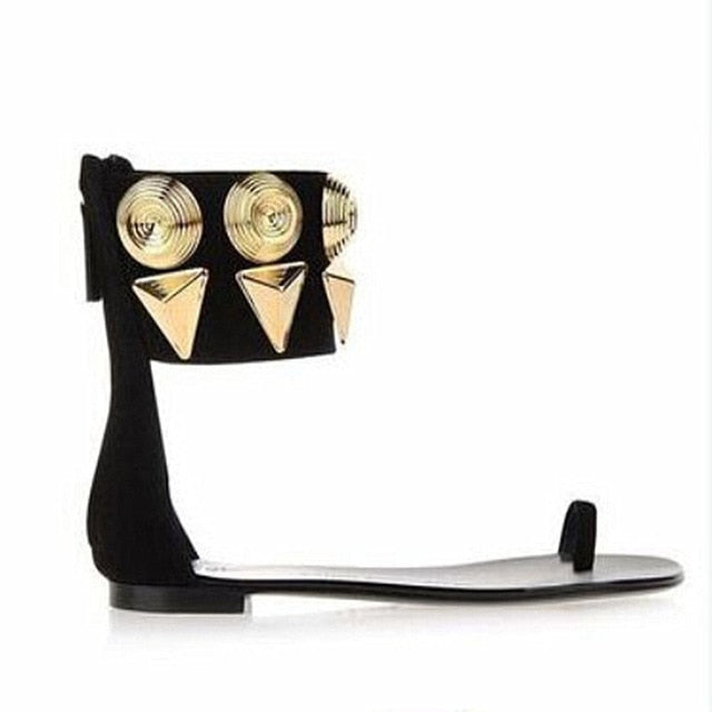 habazoo - Gold Metal Rivets Stylish Women Sandals Open Toe Stilettos Sexy Black Runaway Shoes Woman Back Zipper High Heels Summer Sandals - Habazoo -
