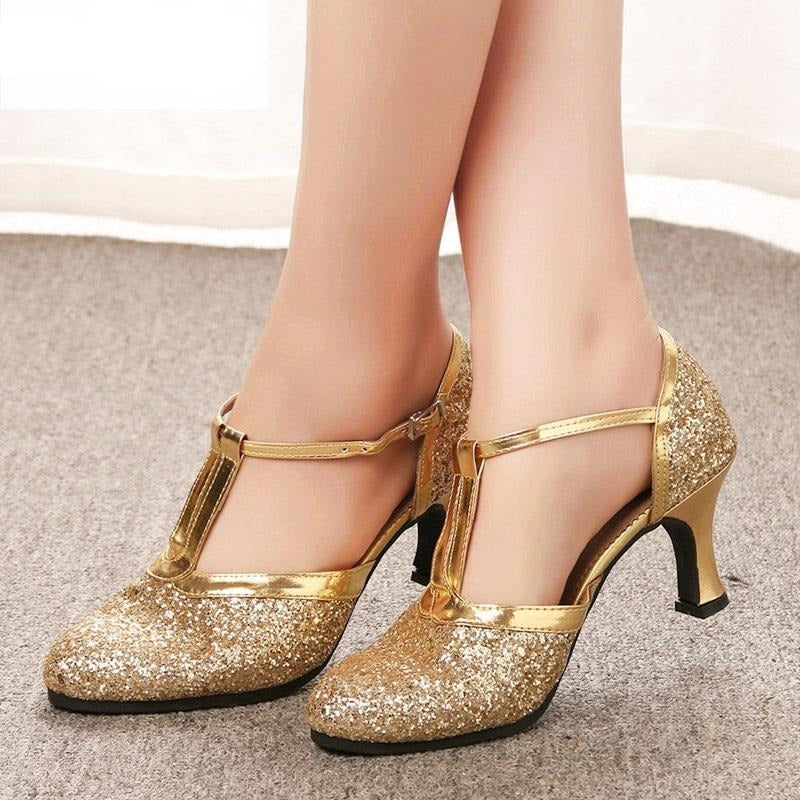 habazoo - Gold Women Shoes 2019 Women Pumps Latin Dance Shoes heeled 5CM Low Heels Female Wedding Party Shoes Gold Silver - Habazoo -