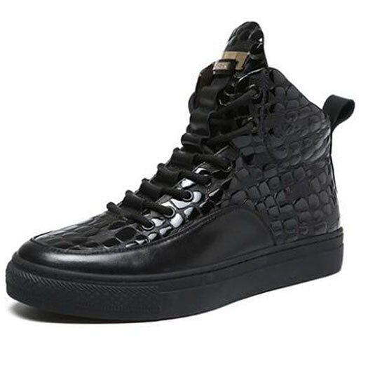 High Top Fur Lace Up Full Grain Ankle Crocodile Luxury Winter Sneakers Shoes Booties Mens Black Patent Leather Boots Trainer