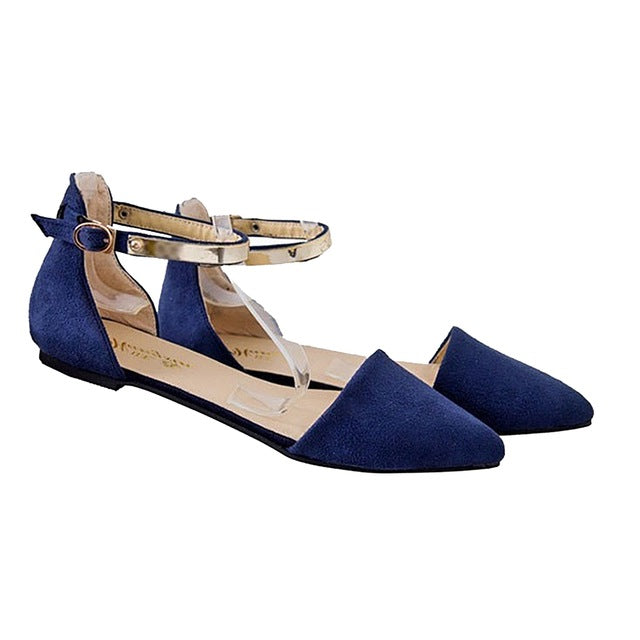 habazoo - Hot Fashion Woman Shoes Spring Summer Pointed Toe suede Flats Soft Fashion Brief sandals - Habazoo -