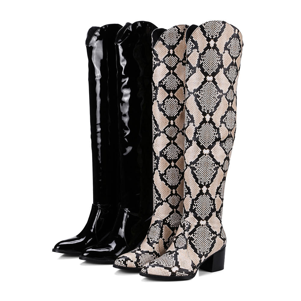 Hot Sale 32 48 Fashion Western Knight Boots women's Over Knee Thigh High Snake Print Boots Women slip-on Heels Shoes Woman