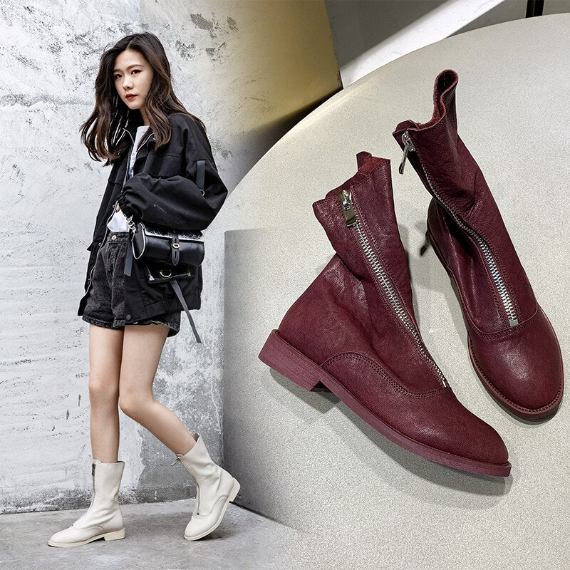 INS hot Women ankle BootsSolid color sheepskin super soft booties 22-24.5 cm length wild Shoes Woman Increased Western boots