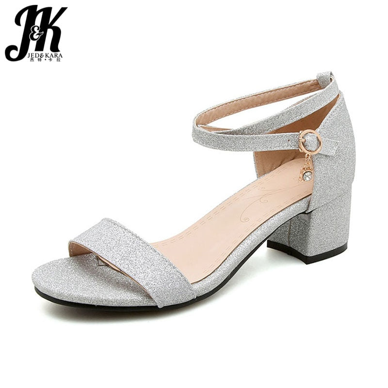 habazoo - Buckle Strap Sandals Fashion Bling Women Shoes Casual Girl Open Toe Sandals Med Heels Footwear Gold Sliver Black - Habazoo -