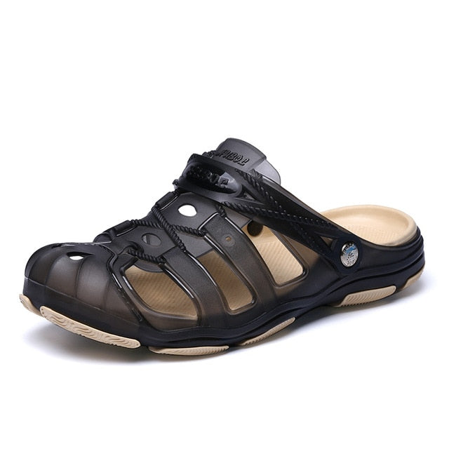 Jelly Shoes Slip-on Sandals Men Breath Mens Sandals Summer Outdoor Beach Sandals Casual Slippers Croks Sandalias Croc Clogs Men - Habazoo