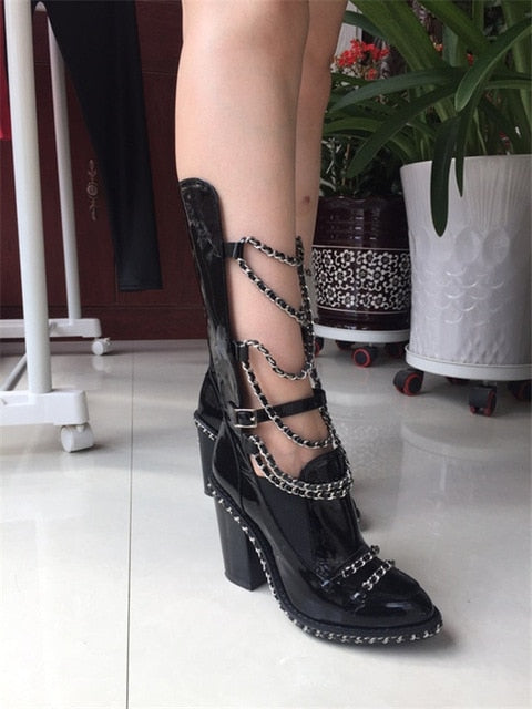 KALMALL Black Patent Leather Ankle Botas Mujer Elastic Thigh High Booties Runway Shoes Block Heel Chain Boots Women Big Size 43