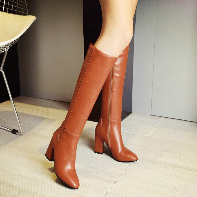 Knee High Boots Women Zipper Comfortable Square Toe Winter Shoes Women Warm Plush High Heel Boots Red Black Brown 2019 Boots