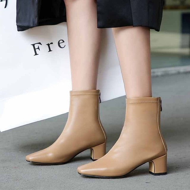 Krazing pot 2019 genuine leather med heel Autumn Winter zipper concise style square toe modern western British Chelsea boots l53