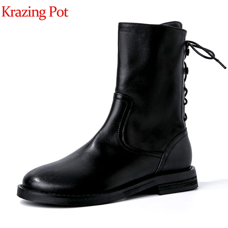 Krazing pot genuine leather round toe low heels back lace up decoration British school young lady neutral motorcycle boots l21