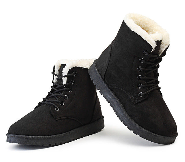 habazoo - New Hot Women Boots Winter Warm Boots Snow Boot Botas Mujer Lace Up Fur Ankle Boots Ladies Winter Shoes Black 35 43 - Habazoo -