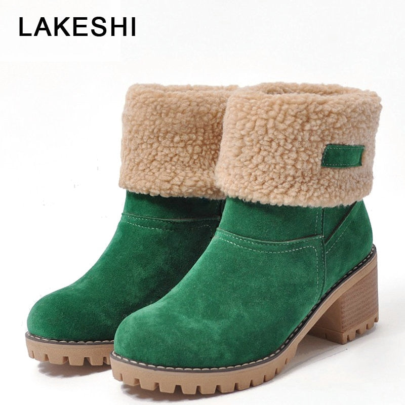 habazoo - New Women Boots Female Winter Shoes Woman Fur Warm Snow Boots Square Ankle Boots Women High Heels Boots Size 35-43 - Habazoo -
