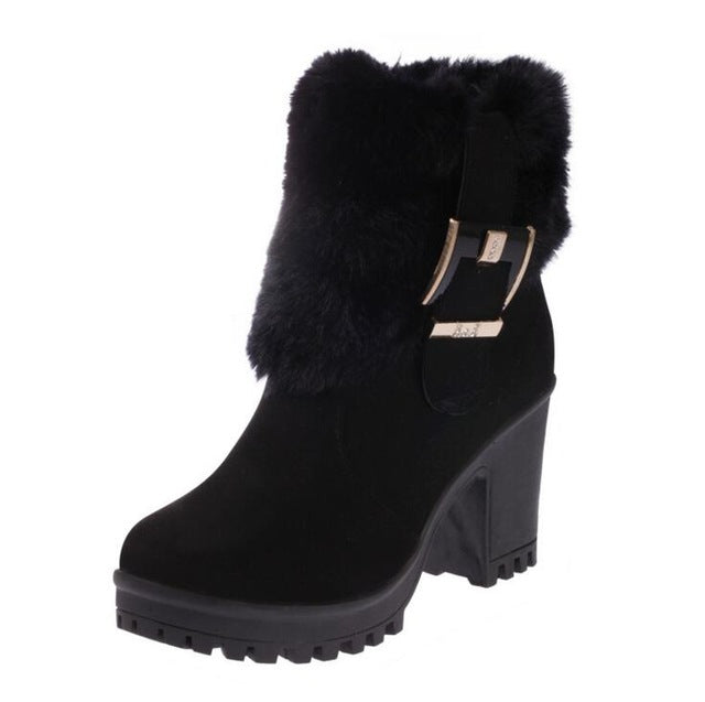 habazoo - New Women Boots Winter Outdoor Warm Fur Boots Women's Suede Snow Boots Thick High Heel Round Toe Ankle Boots - Habazoo -