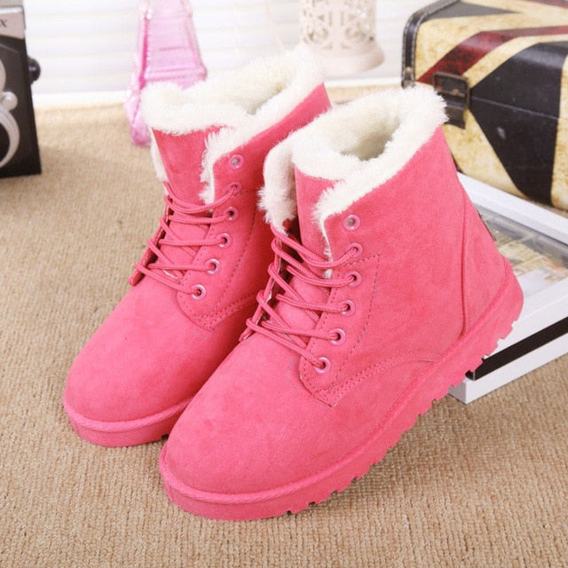 c45a4beda9e3 ... LAKESHI 2018 New Women Boots Winter Warm Snow Boots Women Botas Mujer  Lace Up Fur Ankle ...