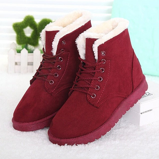 Women Boots Winter Warm Snow Boots Women Lace Up Fur Ankle Boots Ladies Winter Shoes Black - Habazoo