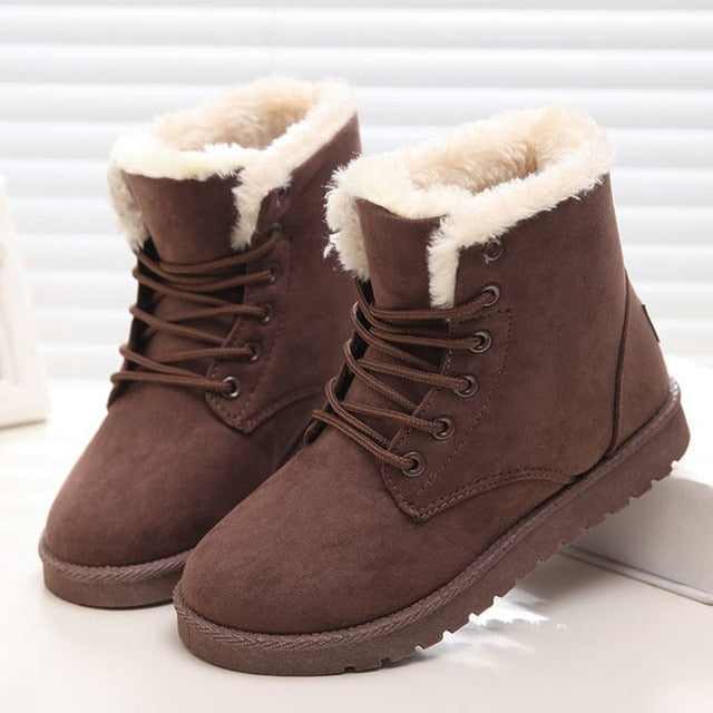 habazoo - Women Boots Winter Warm Snow Boots Women  Lace Up Fur Ankle Boots Ladies Winter Shoes Black - Habazoo -