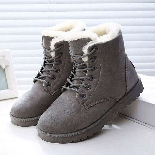 5bd255b01ff0 ... LAKESHI 2018 New Women Boots Winter Warm Snow Boots Women Botas Mujer  Lace Up Fur Ankle ...