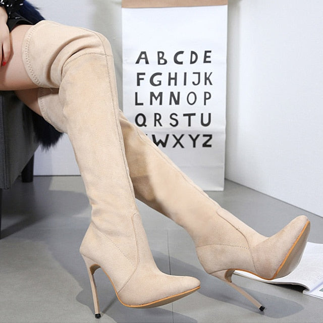 habazoo - Sexy High Heels Boots Over The Knee Boots Women High Boots Female Shoes Suede Stretch Fabri Women Winter High Boots - Habazoo -