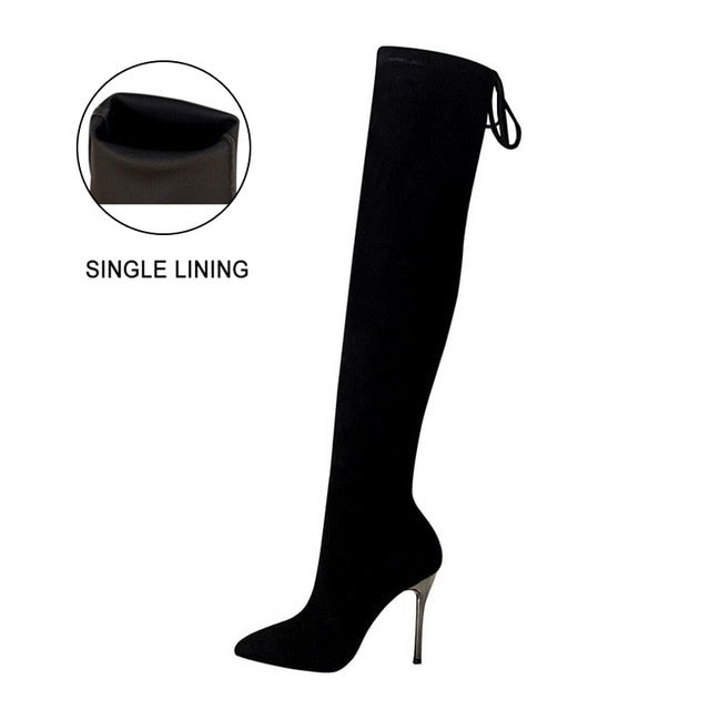habazoo - Boots Women High Heel Shoes  Fashion Over the Knee Boots Women Thigh High Boots Sexy Long Boots  Party Shoes - Habazoo -